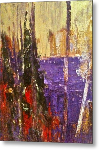 Landscape Abstract In Purple Metal Print by Mary-Lynn Bastian