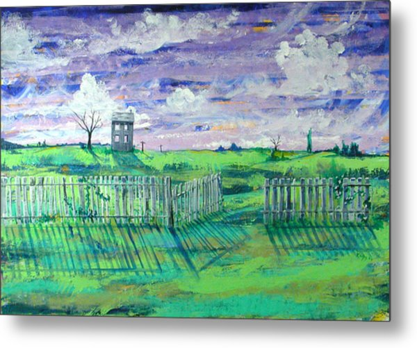 Landscape With Fence Metal Print by Rollin Kocsis