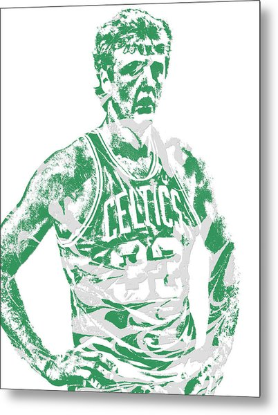 Larry Bird Boston Celtics Pixel Art 6 Metal Print