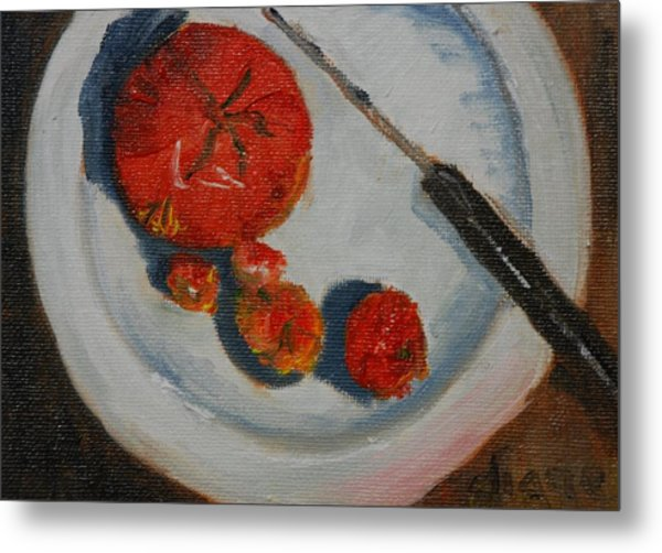 Last Of The Tomatos Metal Print by Diane Fiore