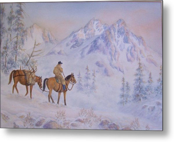 Late Hunt - In The Sawtooth Mountains Metal Print by Cherry Woodbury