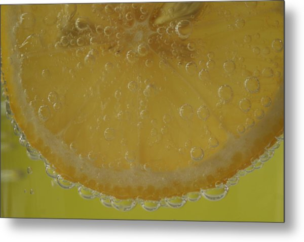 Lemon Bubbles Metal Print by Christine Amstutz