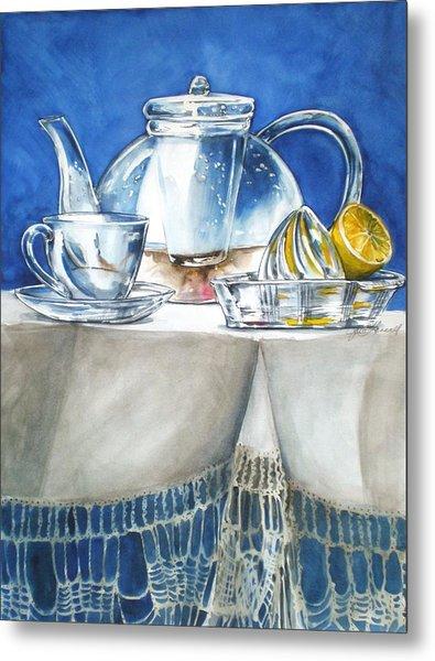 Lemon With Your Tea Metal Print
