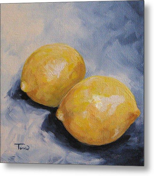 Lemons On Blue  Metal Print by Torrie Smiley