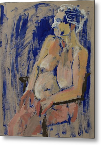 Lesley On Blue Metal Print