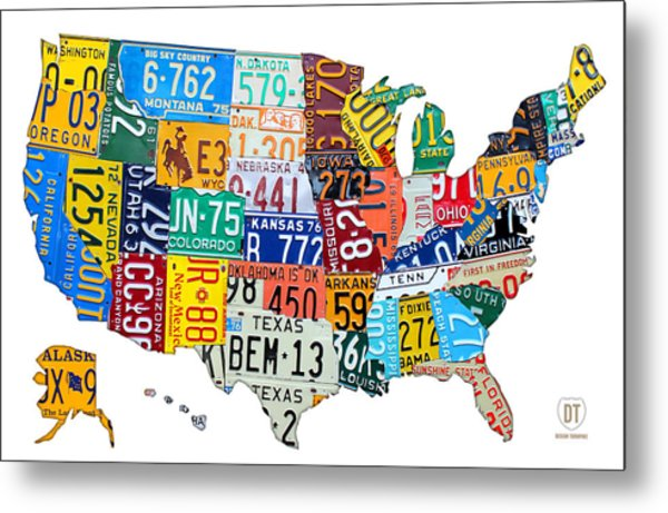 License Plate Map Of The United States Outlined Metal Print