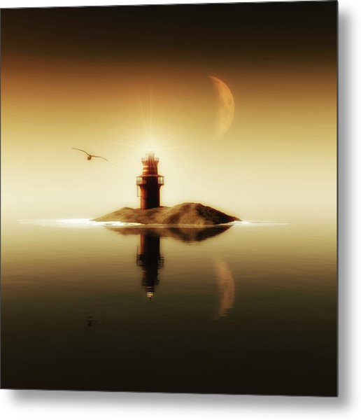 Lighthouse In A Calm Sea Metal Print