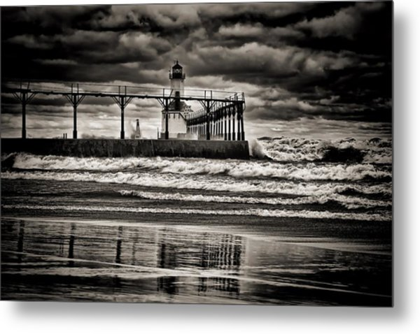 Lighthouse Reflections In Black And White Metal Print
