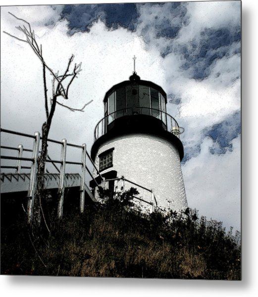 Lighthouse With Twist Metal Print by Dennis Curry