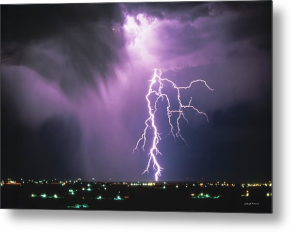 Lightning Storm Metal Print by Leland D Howard