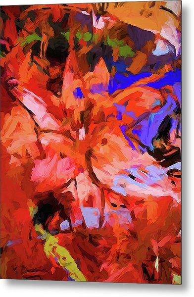 Lily Cobalt Orange Metal Print