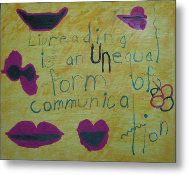 Lipreading Metal Print by AJ Brown