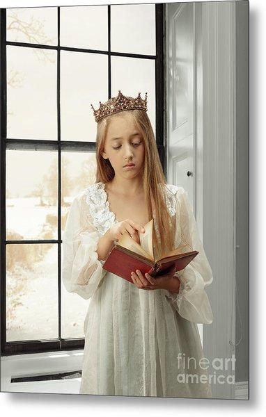 Little Girl Reading Book Metal Print