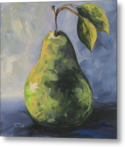 Little Green Pear Metal Print