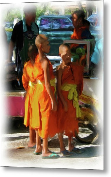 Little Novice Monks 1 Metal Print