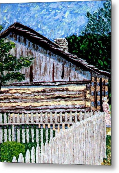 Log Cabin At Conner Prairie Metal Print by Stan Hamilton