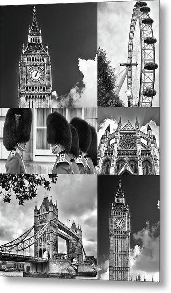 London Collage Bw Metal Print