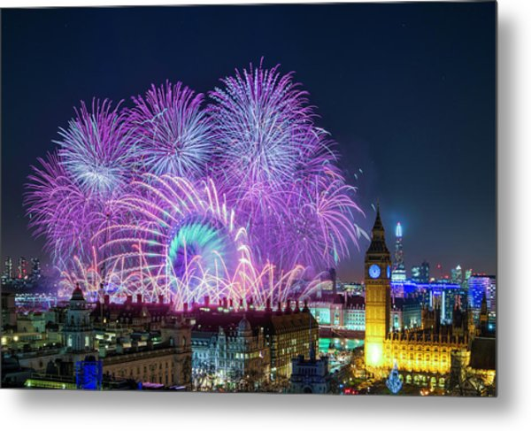 London New Year Fireworks Display Metal Print