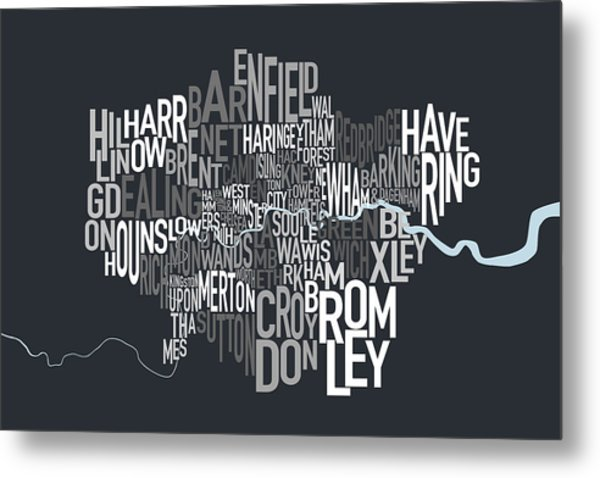 London Uk Text Map Metal Print