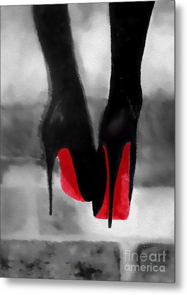 Louboutin At Midnight Black And White Metal Print