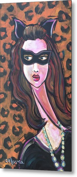 Metal Print featuring the painting Love For Cat Woman  by Laurie Maves ART