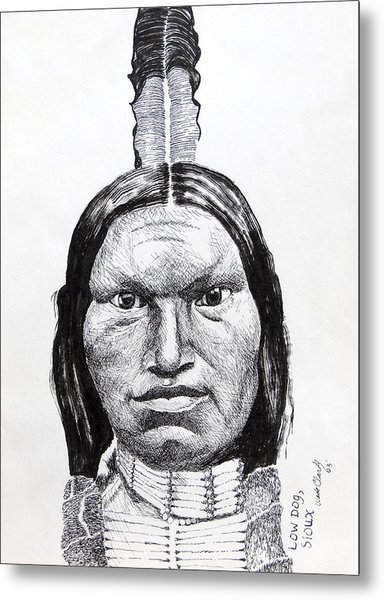 Metal Print featuring the drawing Low Dog Sioux by Wade Clark