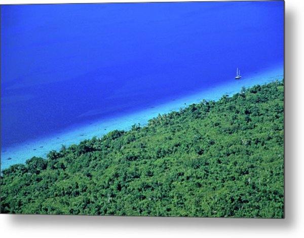 Lush Coast And Blue Waters Of The Sea Surrounding Mosso Island Metal Print by Sami Sarkis