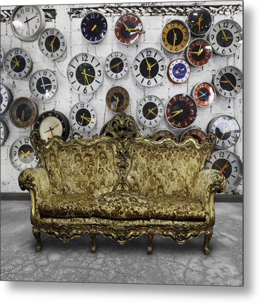 Luxury Sofa  In Retro Room Metal Print