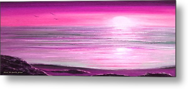 Magenta Panoramic Sunset Metal Print