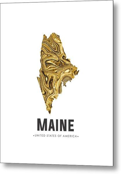 Maine Map Art Abstract In Golden Brown Metal Print