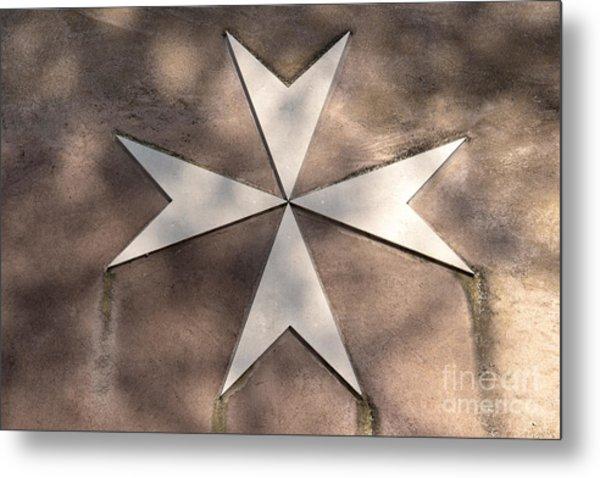 Maltese Cross In Travertine Metal Print