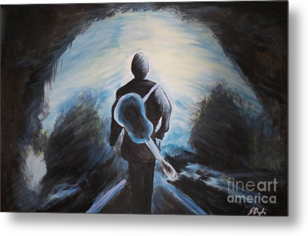 Man In Black Metal Print