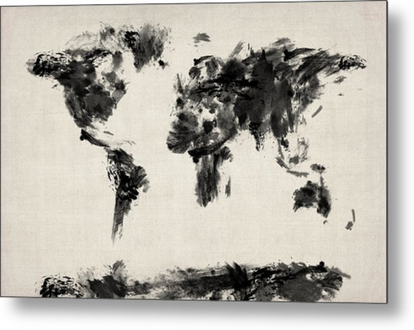 Map Of The World Map Abstract Metal Print