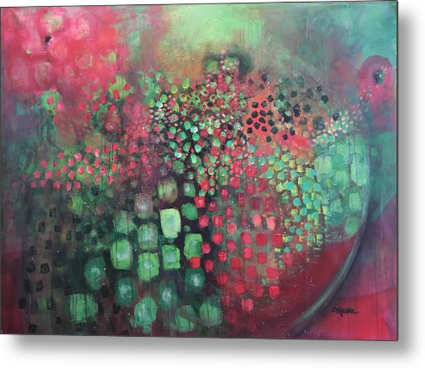 Metal Print featuring the painting March Of The Flamingos Stairway To Heaven by Laurie Maves ART