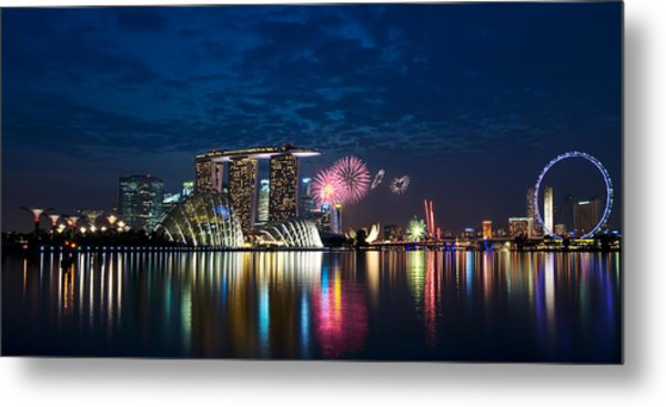 Marina Bay In Panorama Metal Print