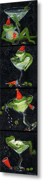 Martini Frogs Metal Print by Debbie McCulley