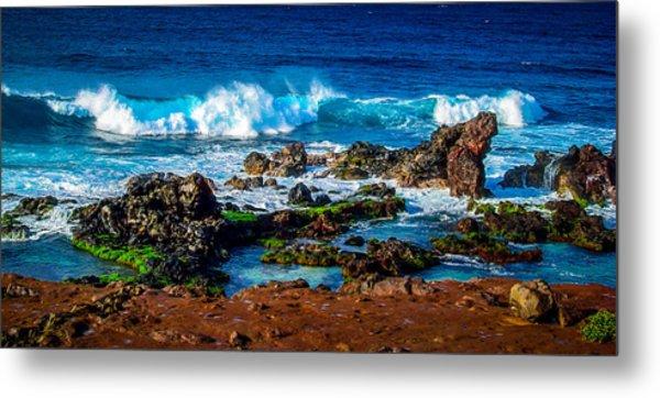Maui Hawaii Breaking Surf  Metal Print