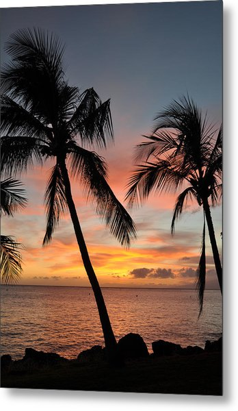 Maui Sunset Palms Metal Print