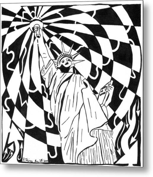 Maze Of Liberty By Yonatan Frimer Metal Print by Yonatan Frimer Maze Artist