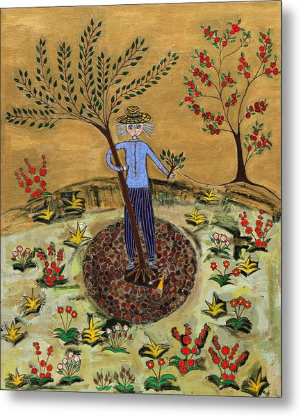 Meditating Master Planting Tree Metal Print by Maggis Art