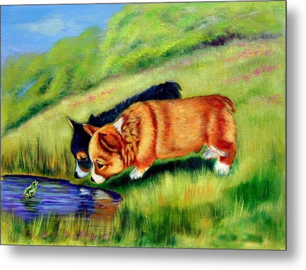 Meeting Mr. Frog Corgi Pups Metal Print