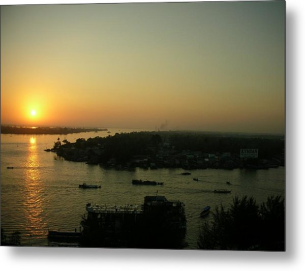 Mekong River Morning Sanrise Traffic Metal Print