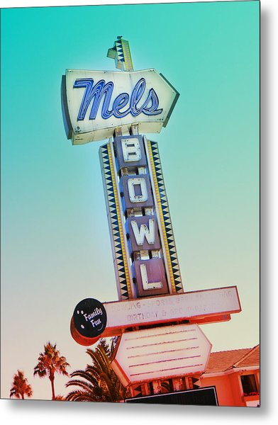 Mels Bowl Retro Sign Metal Print