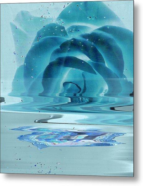 Melting Blue Rose  Metal Print by Anne-Elizabeth Whiteway