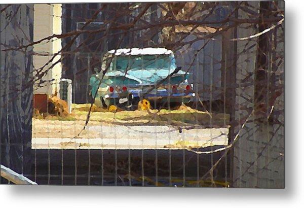 Memories Of Old Blue, A Car In Shantytown.  Metal Print