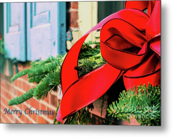 Merry Christmas Window Bow Metal Print