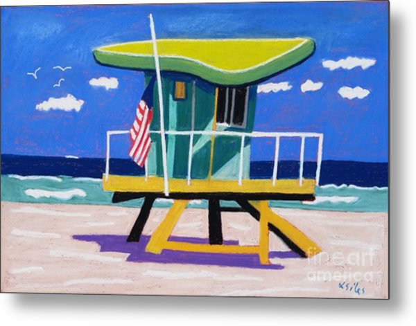 Miami Lime Green Hut Metal Print by Lesley Giles