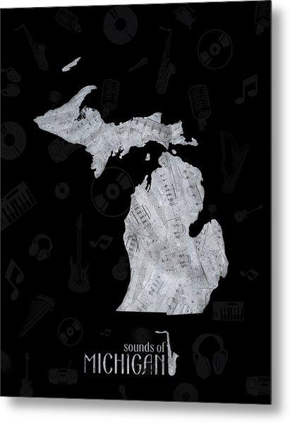Michigan Map Music Notes 2 Metal Print