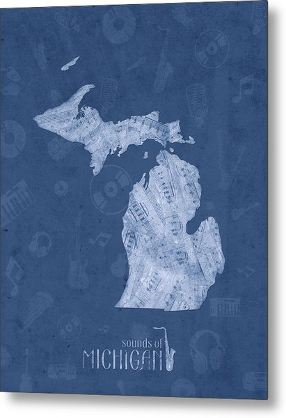 Michigan Map Music Notes 5 Metal Print
