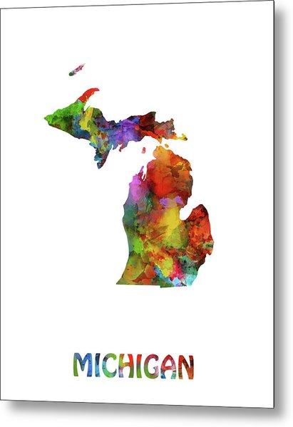 Michigan Map Watercolor Metal Print